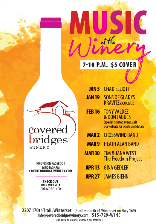 Music at the Winery:<br>Winter 2019 Printable Schedule