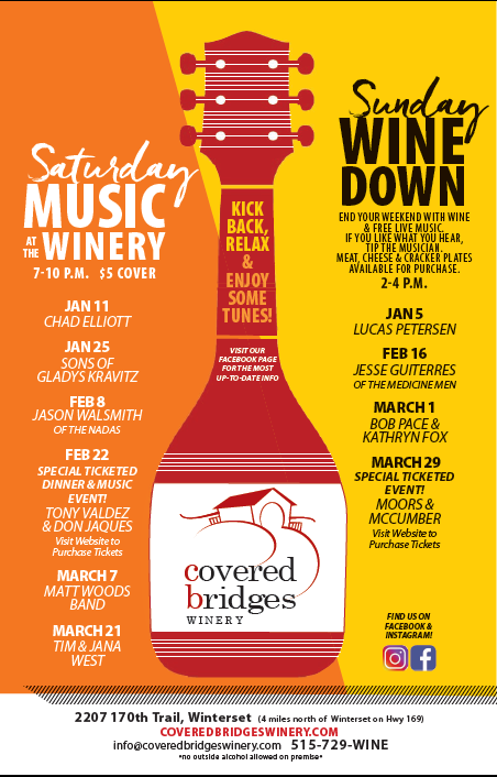 Music at the Winery<br> & Sunday Wine Down<br>Printable Schedule
